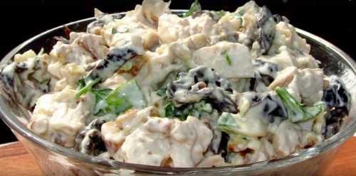 Рецепты салата с черносливом, курицей и грибами,
