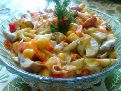 Рецепты салатов с маринованными грибами, секреты