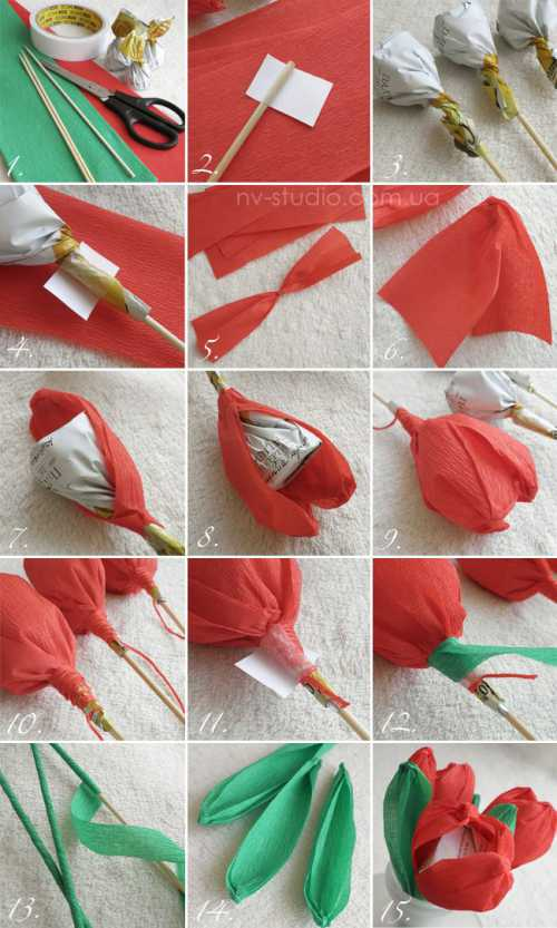 Цветы из бумаги с конфетами своими руками: из
